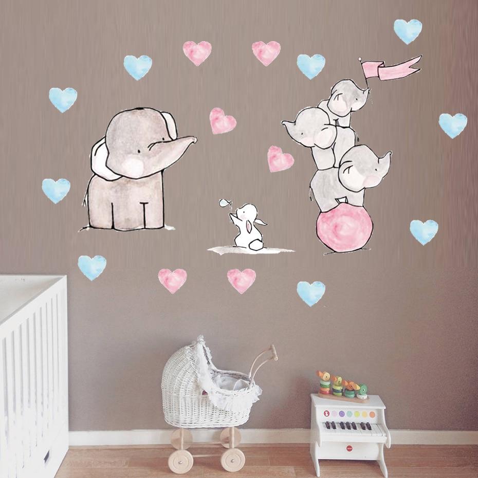 Cartoon Elephant Rabbit Wall Sticker