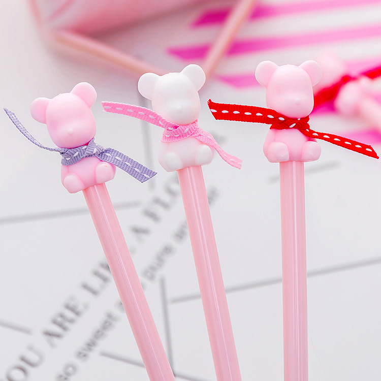 Kawaii Pink bear Gel Pens for writing Cartoon 0.38 mm Black Ink neutral pen School office supplies Stationery gift escolar