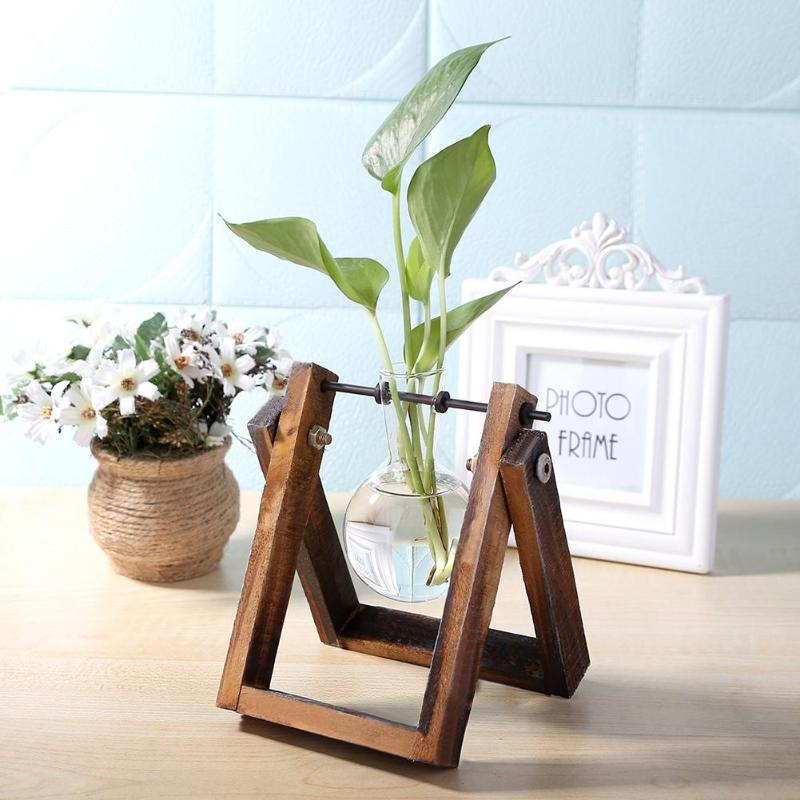 Glass Wood Vase Terrarium Tabletop Hydroponics Plant Bonsai Flower Pot Wooden