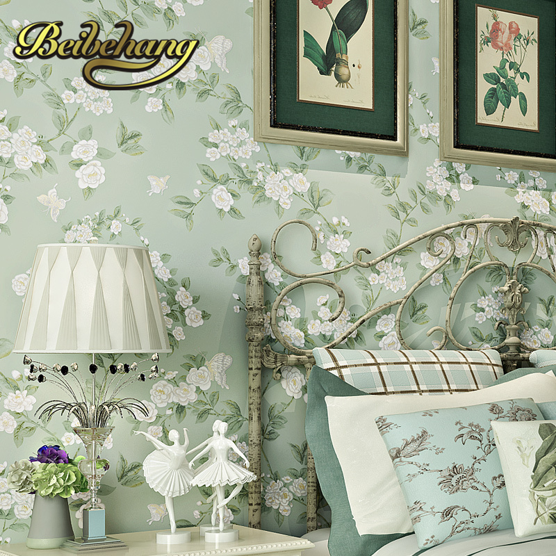 beibehang wall paper papel de parede Warm American Pastoral bedroom TV backdrop environmental non-woven wallpaper for walls 3 d beibehang wall paper pune girl room cartoon children s room bedroom shop for environmental non woven wallpaper ocean mermaid