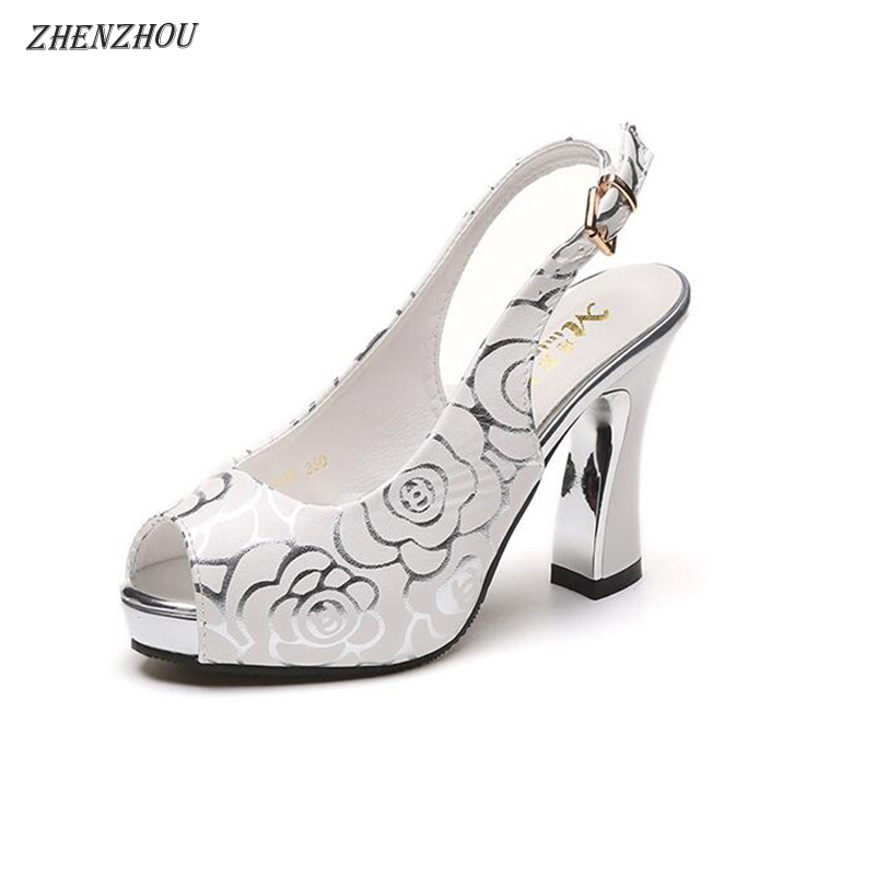 ZHENZHOU 2018 new version of the Korean version of a female shoe with a thick sole and a fish-mouth shoe waterproof platform