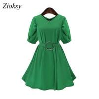 Zioksy Large Size 5XL Women Summer Fashion Chiffon Dress V Neck Solid Color Slim Short Sleeve
