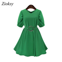 Zioksy Large Size 5XL Women Summer Fashion Chiffon Dress V Neck Solid Color Slim Short Sleeve