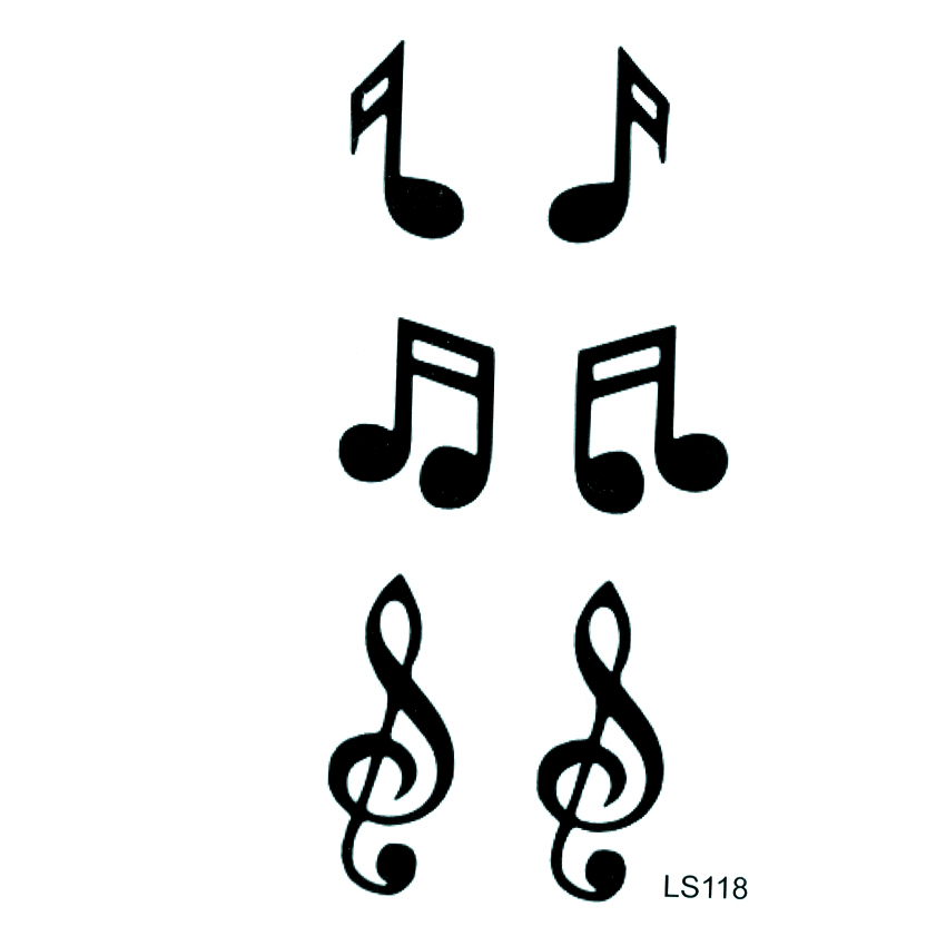 Musical Note Waterproof Temporary Tattoos Men Beauty Fake Tattoo Designs Tatoo Stickers Pesca Hello Kitty