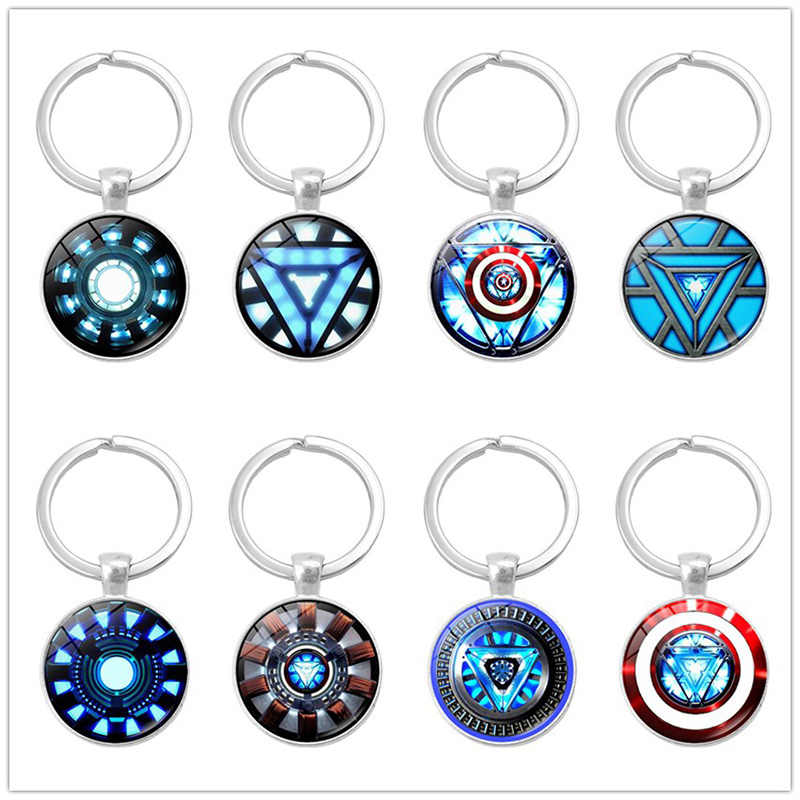 2019 New Hot Iron Man Arc Reactor Glass Pendant Keychain The Avengers 4 Tony Stark Super Heroes Jewelry Souvenirs Keychain Rings