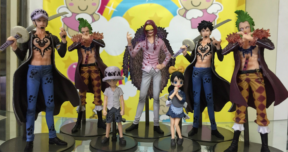 7pcs/set One Piece Trafalgar Law Corazon Bartolomeo Anime Collectible Action Figures PVC Collection toys for christmas gift hot sale 26cm anime shanks one piece action figures anime pvc brinquedos collection figures toys with retail box free shipping