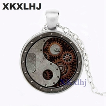 XKXLHJ New Design Round Wheel Gear Pendant Necklace Connectors Charms Steampunk Style Metal Men Jewelry