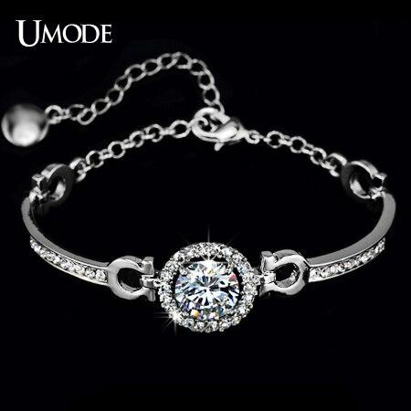 UMODE Mousseux Blanc Or Couleur Coeurs et Flèches Zircon Bracelets Pour Les Femmes Mode Bijoux En Gros AUB0012