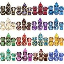 DnD металлические кости RPG MTG кубики курсивом шрифт кости включают кости мешочек разные цвета D4 D6 D8 D10 D12 D20