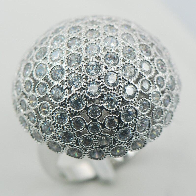 Micropave cristal Zircon cristal blanc Zircon 925 bague en argent Sterling taille 6 7 8 9 10 11 A02
