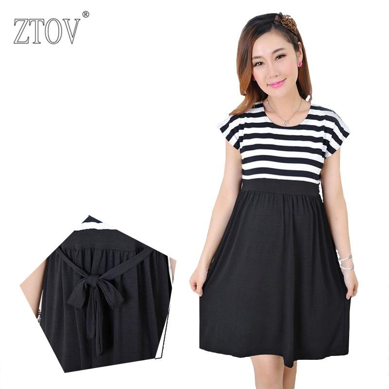 ZTOV Plus size Women Long stripe Dresses Maternity Nursing dresses for Pregnant Women ladies Women's Clothing Mother Clothes K23