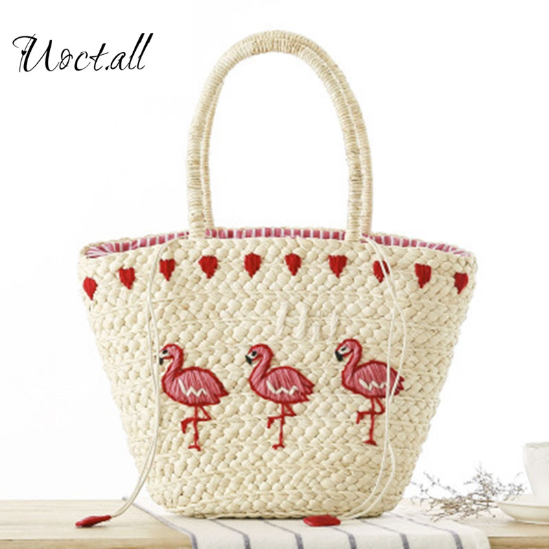 Uoct.all 2018 New Embroidery Womens Hand Bag Large Straw Shoulder Bag Fashion Flamingo Beach Bags Big Tote Woven Bag