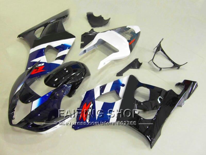 Haute qualité moulage par injection carénage kit pour Suzuki GSXR1000 2003 2004 noir blanc carrosserie carénages ensemble GSXR 1000 03 04 YI26