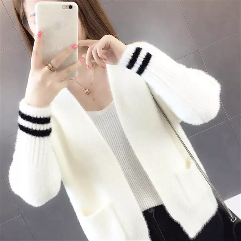 Women Mink Cashmere Jacket Female Sweater Spring And Autumn New Loose Knit Striped Cardigan V Neck Full Sleeve