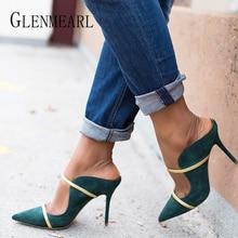 Kadın terlik yüksek topuklu katır ayakkabı yaz ayakkabı üzerinde kayma sivri burun kadın slaytlar açık kadın sandalet artı boyutu parti ayakkabıları