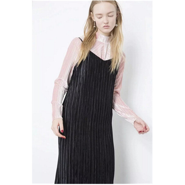 908e1be8125 Sexy Backless V neck Sleeveless Pleated Dress Autumn Winter Women Vintage Spaghetti  Strap Mid long Outer Dress Black