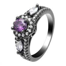 Purple Black Rings Color Gun Plated  White CZ Cubic Zircon For Women Engagement Wedding Gift