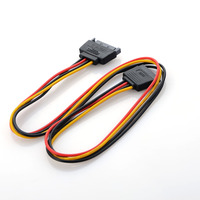 50cm New Power Adapter Cable 15 Pin SATA Male to Dual Molex 4 Pin IDE HDD Female Computer Cables & Connectors