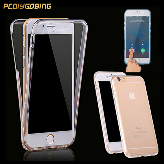 wholesale dealer 00b91 b100a PCDIYGOBING 2 in 1 Full body Cover Transparent Touch Case For iPhone 4 4S 5  5S SE 6 6s Plus Cases 7 Plus 7plus 8 Plus X-in Fitted Cases from ...