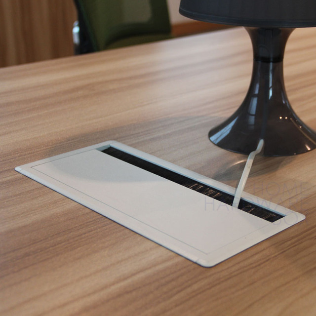 Beau 260x160mm Desk Wire Grommet Rectangle Whie Aluminum Table Top Hole Cover  Brush