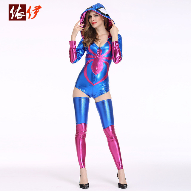 new 2017 sexy blue womens spider costume sale game cosplay sexy halloween costumes for woman