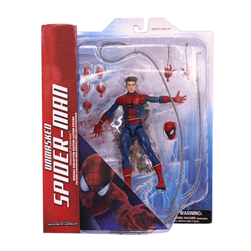 Marvel Select Superhero Anime Figure Amazing Unmasked The Amazing Spider-Man Movie Spiderman Toy 18CM Ultra Action Figure Toys free shipping the avengers the amazing spider man movie spiderman will light 17cm pvc action figure toys new christmas gifts