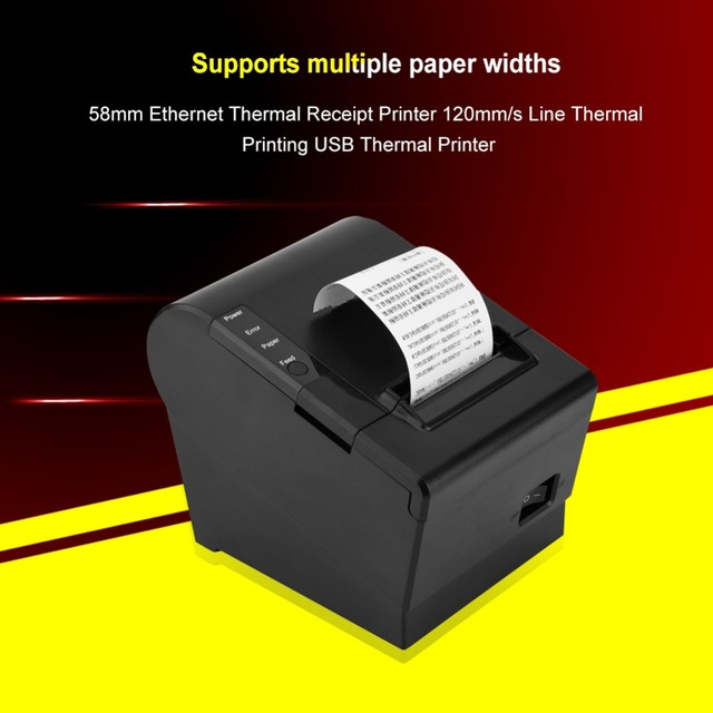 VBESTLIFE 58mm Ethernet Thermal Receipt Printer 120mm/s Line USB Thermal Printer