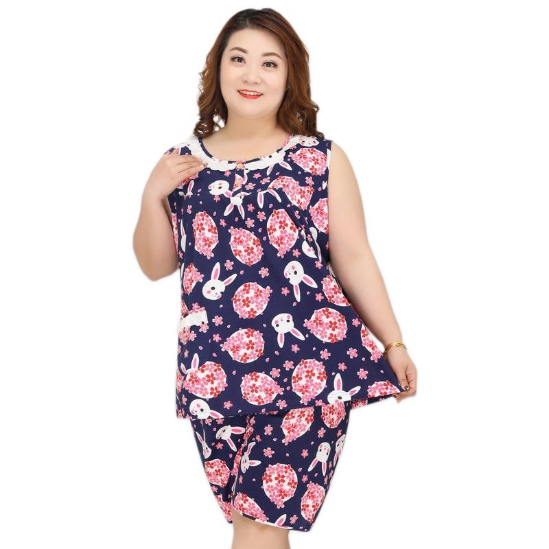 Plus size 5XL sleeveless shorts sleepwear women   pajamas     sets   100% cotton pijamas Fresh Floral rabbit women pyjamas 130KG XXXXXL