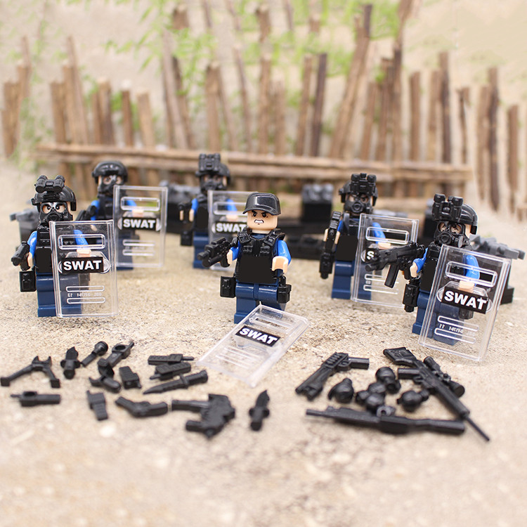 6pcs SWAT City Police World War 2 Military Soldier Army armed forces Weapon Building Blocks Brick Figures Toy Boy Gift Children xinlexin 317p 4in1 military boys blocks soldier war weapon cannon dog bricks building blocks sets swat classic toys for children
