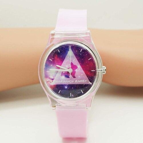 WILLIS Women Watches For Girls Pink Rabbit Cartoon Quartz Wristwatches Life Waterproof Analog Jelly Watch For Kids PENGNATATE