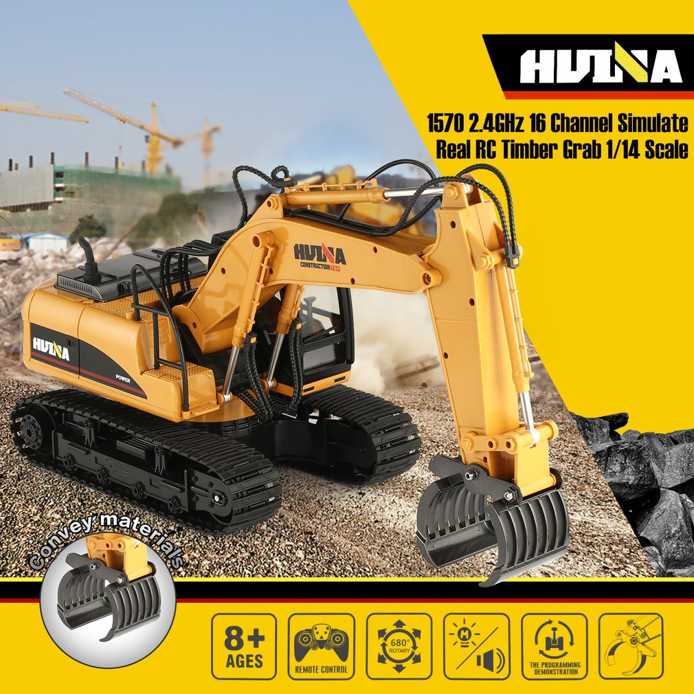 HUINA 1570 16ch RC Timber Metal Grab Wood 1/14 2.4G Engineering Crawler Truck Toy RTR Car Construction Vehicle With Light ToysHUINA 1570 16ch RC Timber Metal Grab Wood 1/14 2.4G Engineering Crawler Truck Toy RTR Car Construction Vehicle With Light Toys