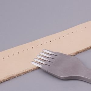 Image 2 - Outil de poinçonnage de cuir à 2/5/10 dents, burin en acier, Style français, fer à poinçonner, outil de poinçonnage de cuir, 2.7/3.0/3.38/3.85mm, 3 pièces/ensemble