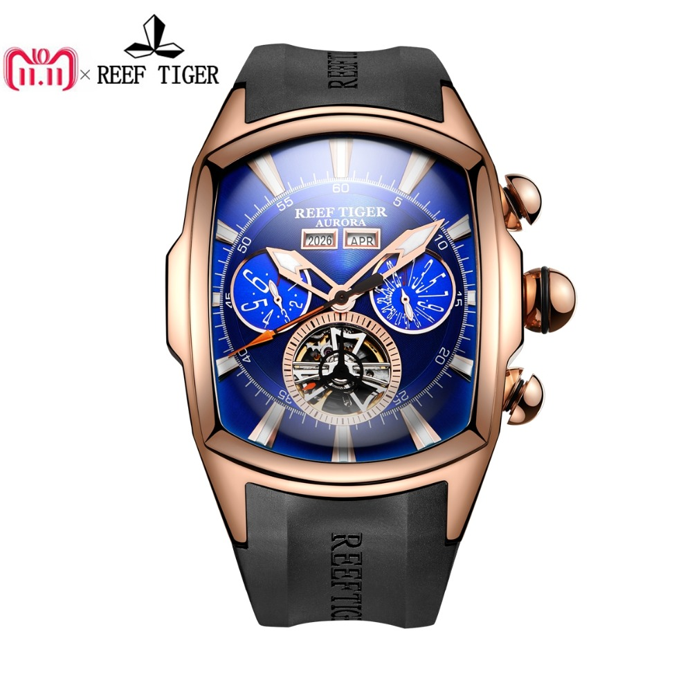 Reef Tiger/RT Mens Sport Watches Analog Display Luminous Tourbillon Watches Rose Gold Blue Dial Tank Watches RGA3069 reef tiger rt super luminous dive watches for men rose gold blue dial watches analog automatic watches rga3035