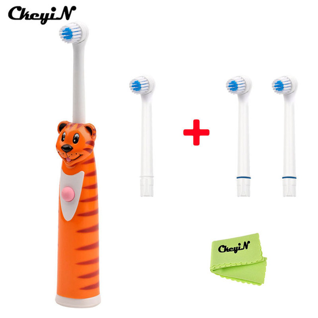 Waterproof Electric Toothbrush Rotating Toothbrush +4pcs Electric Toothbrush Heads Oral Hygiene Tooth brushes For Children Kids