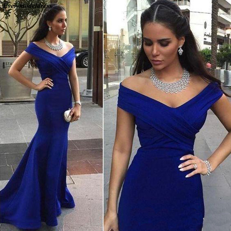 2019 Off Shoulder Mermaid Long   Bridesmaid     Dresses   Royal Blue Backless Maid Of Honor Cheap Wedding Guest Party Gowns Plus Size