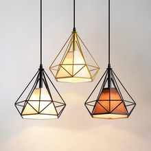 Nordic Pendant Lights Modern Industrial Vintage Diamond Lamp Iron Minimalist Loft Cage Hanging Ceiling For Kitchen