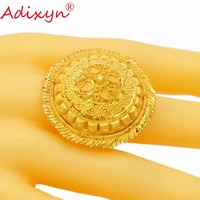 Adixyn NEW Round Wide Ring Gold Color Trendy Delicate Engaement Jewelry for Women/Girls African/Ethiopian/Arab Items N02275