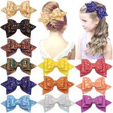 Блестящие банты для волос 15 шт 5 дюймов заколки разноцветные