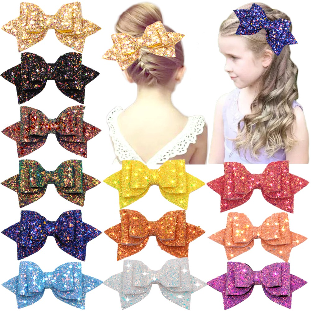 15 Pieces Glitter Hair Bows 5 Inch Hair Bow Boutique Hair Clips Multi Color Sequins Big Hair Bows For Baby Girls Teens Toddlers
