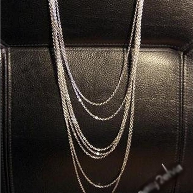 Vintage Style Star Multi-layer Womens Silver Multi-Chain Long Necklace Material Alloy All-Match Wate Wave Shape Nacklace