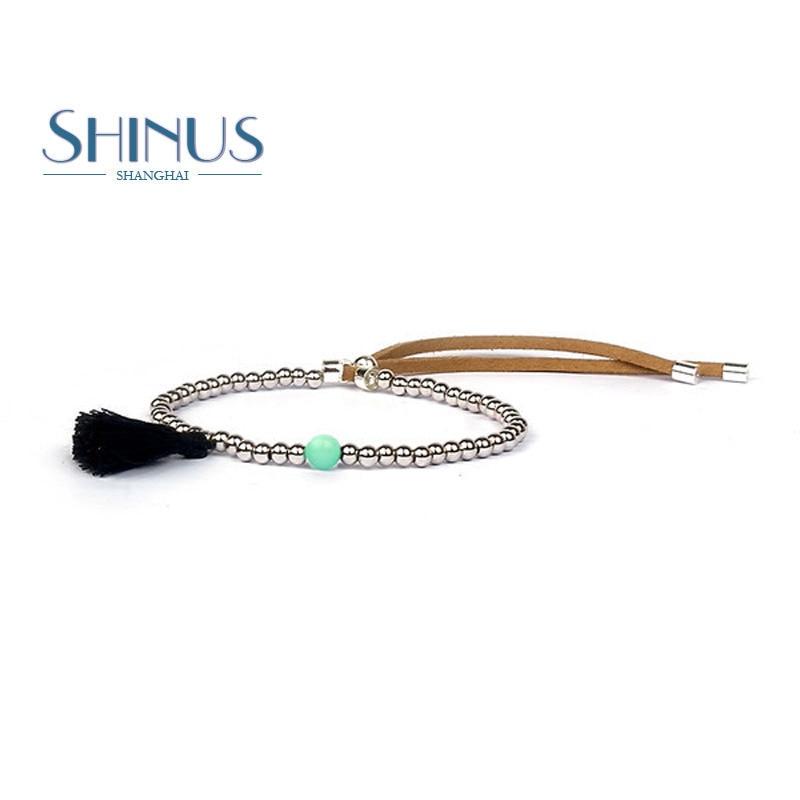 Shinus Bracelet Men Jewelry Bracelets Women Tassel Beaded Handmade Bijoux Femme Silver Color Beads Pulseras Strand Fashion