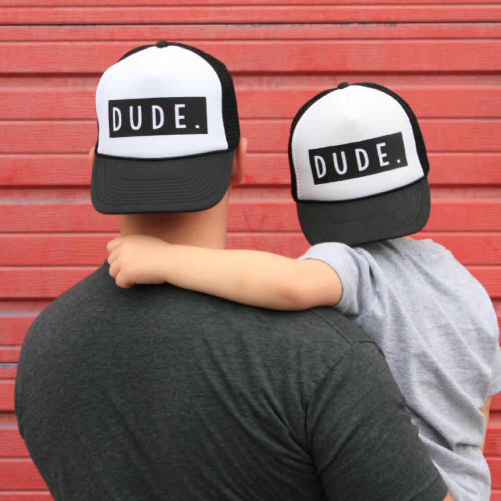DongKing Trucker Hat DUDE Print Cap Father Mom Son Trucker Dude Hat Kids Child Baby Adult Mesh Baseball Caps Gift brushed cotton twill ivy hat flat cap by decky brown