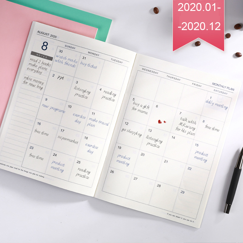 2020 Year Calendar Monthly Planner Months Diary Leather Notebook Personal Agenda Planner Organizer Business Office Stationery B5