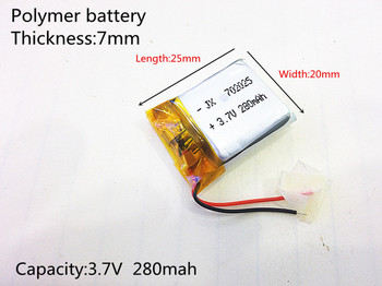 3.7V 280mAh [702025] PLIB ; polymer lithium ion / Li-ion battery for dvr,GPS,power bank,mp4;mp3 image