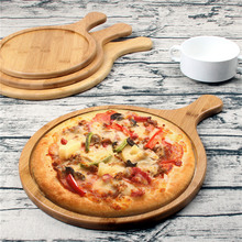 Bamboo Round Pizza Bread Baking Tray Fruit Chopping Board with Handle Pizza Salad Plate Eco-Friendly Multi-Use Cutting Board