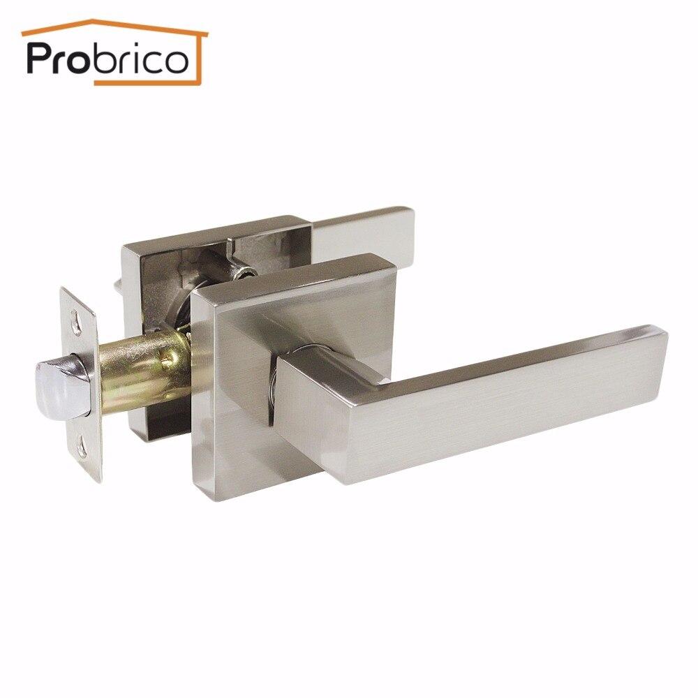 Probrico Stainless Steel Passage Interior Door Lock Set Brushed Nickel Bathroom Door Handle Bedroom Square Door