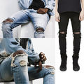 Fashion PUNKOOL Mens Skinny Jeans Men 2016 Ripped Jeans Slim Elastic Denim Biker Hip Hop Pants Washed Hombre