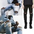 Moda PUNKOOL Mens Motociclista Magras calças de Brim Dos Homens 2016 calças de Brim Rasgadas Denim Elástico Fino Calças Hip Hop Lavado Hombre
