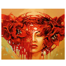 RIHE Red Flower Girl Diy Painting By Numbers Beauty Oil On Canvas Hand Painted Cuadros Decoracion Acrylic Paint Art