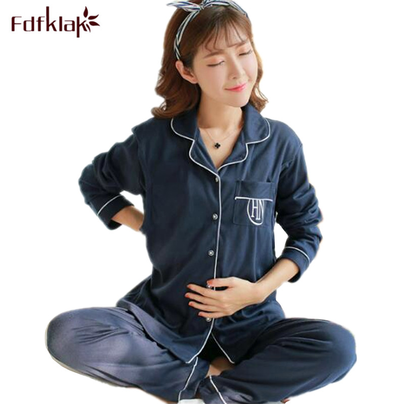 Fdfklak High Quality Cotton Pregnancy Clothes Long Sleeve Maternity Nightwear Casual Hamile Pijama Women Nursing Pajamas Set